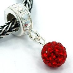 Red Swarovski Crystal Dangle Charm