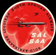South African Airways - SAA South African Air Force, Airline Logo, Luggage Labels, Romantic Places, Logo Sticker, African History, Travel Posters, Aviation, Vintage Airline