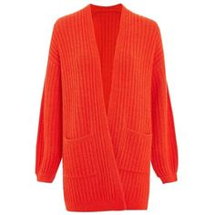 Women's Topshop Wide Rib Cardigan (290 PEN) ❤ liked on Polyvore featuring tops, cardigans, red cardigan, long line cardigan, fuzzy cardigan, topshop tops and cardigan top