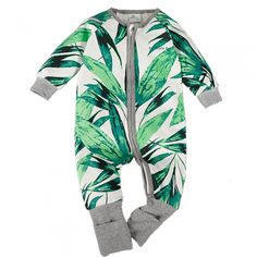 Unisex Baby Pajamas,Long Sleeve Green Forest Romper,3-12 Months