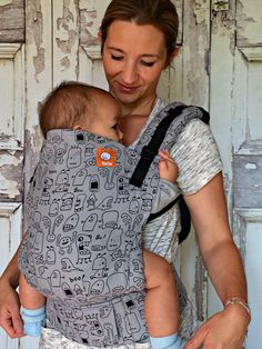 (Standard Size) Half Wrap Conversion Tula Baby Carrier - Bebelulu Rapalu Monsters