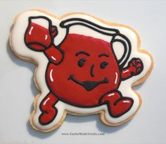 This Kool-Aid Man cookie is truly a blast from the past. This pin can be found on my  NOSTALGIC cookie board. How cute is this cookie? If you would like to explore my many cookie boards you may be surprised at the fabulously realistic, amusing, artistic and just plain amazing cookies that are out there. Some are just for inspiration, some have tutorials, and some are for sale {usually on Etsy} ~ I hope you enjoy this board. Go forth and pin freely! ;-)