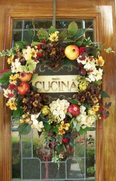 Tuscan Wreath with Vintage Style Art, Fruit and Floral Door or Wall