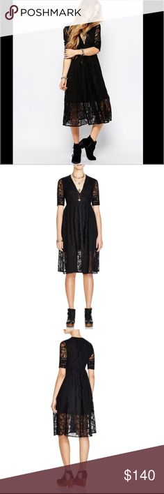 Free People Dress Mountain Laurel Free People Dress Mountain Laurel.  NWT.  This beautiful, vintage like lace dress is the perfect day or night dress.  V-neck, short sleeves, all over lace.  Empire waist and concealed side zip closure. Free People Dresses Midi