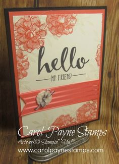 It's De'javu on my blog today. I LOST the three rose stamps from the Picture Perfect set while putting away my supplies to prep for Christmas, so I re-made my original card with the What I Love Sale-a-bration set. More info on my blog:http://www.carolpaynestamps.com/2016/01/stampin-up-what-i-love-for-sale-a-bration.html