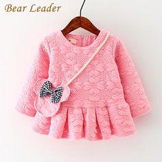 Baby  born Baby Girls Clothes  Casual Long-sleeve Diagonally Across Bag Design Kids Dress 4-24M