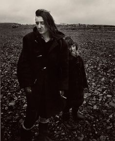 """Chris Killip Val and her Son John Waiting for the Tide to go Down, Seacoal Camp, Lynemouth, Northumberland, 1984"""