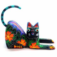 Mexican Alebrijes - Pink Stripe Cat - Topanien Global Gifts