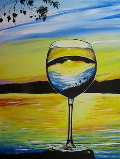 Cheers Wineglass at Sunset Original Acrylic by PaintedbyCarol, $250.00