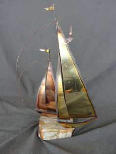 "Vintage Mid Century Modern Copper and Brass Curtis Jere 13 3/4"" Sail Boat"
