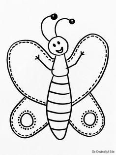 Kalligram Vlinder tekenen | Kalligram Vlinder tekening-tekenen | Kleurplaat kinderen tekentechniek | Vlindertjes kleuren creatief-kids (3)