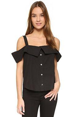 5a49ca7da1c66 Clu Off Shoulder Button Down Top Black off the shoulder button down blouse.  New with tags never worn