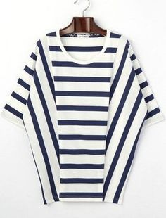 Play with stripes Zerschnittene Shirts, Cut Up Shirts, Tie Dye Shirts, Shirt Blouses, Mode Outfits, Casual Outfits, Fashion Outfits, Tshirt Garn, One Direction Shirts