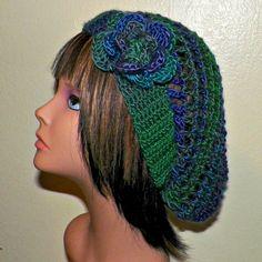 Green Purple Slouchy Hat Womens Crochet by wildirishrosecrochet, $24.00