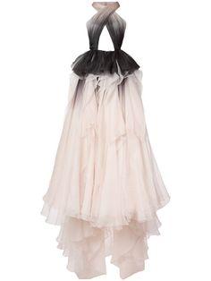 Shop Marchesa pleated organza floor-length gown.