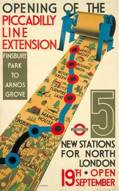 1936 Opening of the Piccadilly Line Extension Finsbury Park to Arnos Grove 5 new…