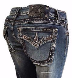 Miss Me Size 32 (13/14) Embellished Boot Cut Jeans Dark Blue JP5997B $119.50 #MissMe #BootCut
