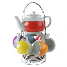 Rainbow Tower Porcelain Tea Set w/ Stand