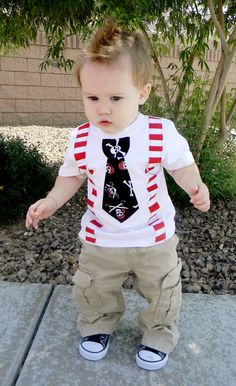 Pirate Birthday Tie and Suspenders Applique Onesie or T-Shirt for Boys - Pirate Birthday Shirt - Halloween - Pirate Costume on Etsy, $19.99