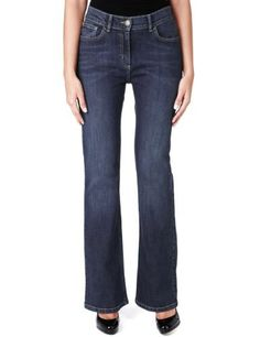 M&S Collection Bootleg Washed Denim Jeans - Marks & Spencer