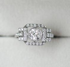 Platinum and Diamond Ring 001-100-00196. #LauraPearceLTD