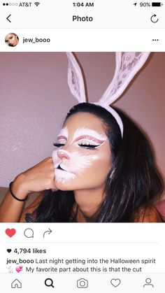 bunny makeup for halloween Halloween Inspo, Halloween Makeup Looks, Halloween Outfits, Spirit Halloween, Halloween Make Up, Pretty Halloween Costumes, Bunny Halloween Costume, Easter Bunny Costume, Disney Halloween Makeup