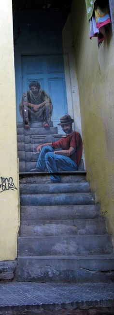 A mural art in showing two different stages of its artist's life. Street Art, World Street, Casablanca, Mural Art, Wall Art, Stair Art, Artist Life, City Art, World Heritage Sites