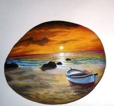 Fishing at sunset acrylic miniature painting on flat sea stone! Original unique painted stone, coverd with gloss varnish for protection Rock Painting Ideas Easy, Rock Painting Designs, Painting Patterns, Pebble Painting, Pebble Art, Stone Painting, Painted Rocks Craft, Hand Painted Rocks, Painted Fish