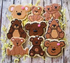 Teddy bear cookies by the Cookie Loft Girls