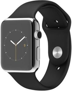 """Apple Watch 42 mm (1ª Generación) - Smartwatch iOS con caja de acero inoxidable en plata (pantalla 1.5"""", Apple S1 a 520 MHz, 8 GB, 512 MB RAM), correa deportiva negra. EUR 369,00"""