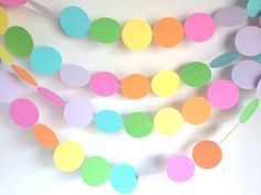 6 feet long Paper Garland - Bright Rainbow (Rainbow Party Decoration, Unicorn Party Decoration) by TopperAndTwine on Etsy https://www.etsy.com/listing/243372587/6-feet-long-paper-garland-bright-rainbow