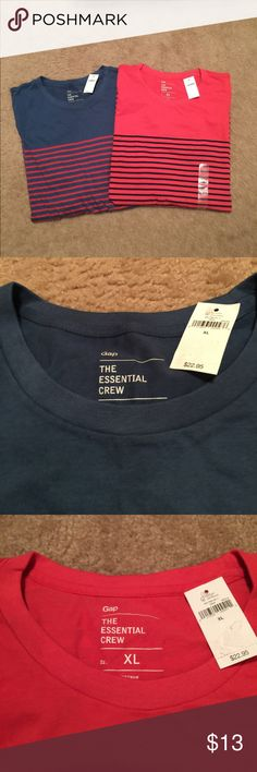 Gap Essential Crew Long Sleeve Tee Long sleeve crew neck tees. One blue with red stripe, one red with dark navy (looks black) stripe. Size XL. New with tag. Retail $22.95 each (price shown is $13 for each shirt, bundle discount will apply) GAP Shirts Tees - Long Sleeve