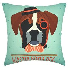 YOUR SMILE Boxer Dog Cotton Linen Square Decorative Throw…
