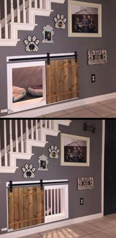 Awesome dog kennel under the stairs design idea. If you want an indoor dog house… - Design Diy, Awesome dog kennel under the stairs design idea. If you want an indoor dog house Awesome dog kenne, Future House, House Goals, My New Room, My Dream Home, Home Projects, Diy Home Decor, Pet Decor, Wall Decor, Home And Garden