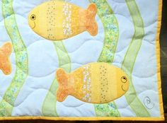 Hand Quilted Baby Quilt with Fish