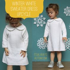 Oh my... she took an old sweater at the thrift store and made a cute dress for her little one. ADORABLE!