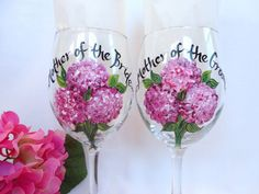 Hand Painted Bridesmaid Wine Glasses  PERSONALIZED by samdesigns22