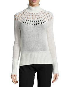 Pointelle Merino Turtleneck Sweater, Cream by Tamara Mellon at Neiman Marcus.