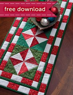 Peppermint Candy Table Runner free pattern download from Martingale, I Made this, it is easy and cute...