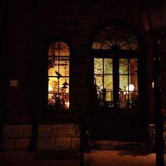 "@einarrice's photo: ""#lights from the store #windows.  #glass #brick #building #architecture #night #toronto"""