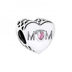 PANDORA Mother Heart. This classic sterling silver heart charm sweetly spells out the name of one of the most important people in anyone's life; your mom. The heart-shaped stone in tender pink highlights the charm's endearing message. At Maurice Badler Fine Jewelry. www.badler.com - have, C