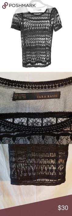 Zara | Lace overlay top Beautiful lace overlay top. Perfect over a cami or be bold and try less! NWOT Zara Tops Blouses