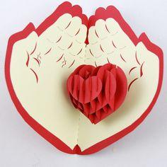 Cheap Día de san valentín tarjeta corazón rojo de tarjetas pop up / 3D tarjeta / hechos a mano tarjetas de felicitación envío gratis, Compro Calidad Tarjetas de Felicitación directamente de los surtidores de China:       Detalles de los artículos         -14 cm x 15 cm tarjeta doblada    -   Incluye un 100% reciclado, sobre a j