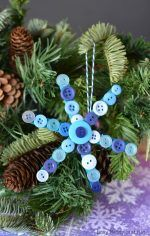 Craft Stick and Buttons Snowflake Christmas Ornament