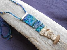 Hand woven necklace *sea+shore* - tapestry miniature with silver, driftwood, gems and sea shells