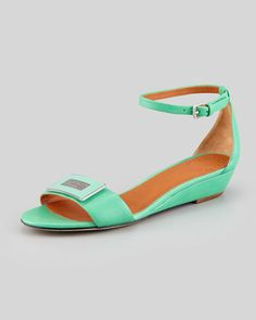 Logo Plaque Wedge Sandal, Jade by MARC by Marc Jacobs at Neiman Marcus.