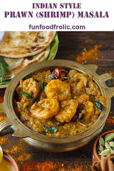 Chettinad Prawn Masala is a finger-licking good South Indian style prawn curry. It is spicy, bold and perfect to serve with steamed rice. Indian Shrimp Curry, Indian Prawn Recipes, Fish Curry, Indian Curry, Indian Chicken Masala, Chicken And Prawn Curry, South Indian Chicken Curry, Best Dinner Recipes, Indian Recipes