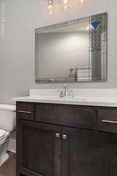 "Discover the bathroom vanity mirror ""Francesco,"" a mid century mirror inspired by Frank Lloyd Wright that will enrich your home's interior. Start browsing now. . . . #FrankLloydWright #hangingmirror #bathroommirror #homedecor Craftsman Decor, Modern Craftsman, Art Deco Decor, Wall Decor, Wall Art, Modern Bathroom Decor, Bathroom Wall, Silver Walls, Mirror Mosaic"