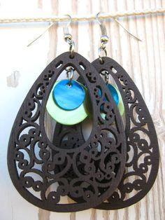 Dangle Earrings-Carved Dark Wood & Shells- Scrolled Wood Earrings- Teal-Green-Silver Hooks