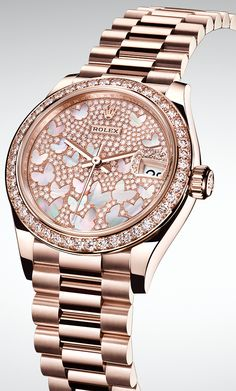 Rolex Watches New Collection : Illustration Description The new Rolex Datejust 31 is introduced in Everose gold with a diamond-paved dial inlaid with pink mother-of-pearl butterflies. Vintage Watches For Men, Luxury Watches For Men, Modern Watches, Ladies Rolex Watches, Gold Watches Women, Elegant Watches, Vintage Men, Cartier Rolex, Rolex Women